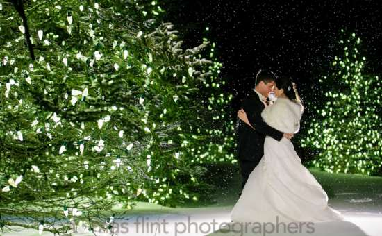 Beautiful Winter Wedding Photo ops on our lovely property, this couple took advantage of our year round lit trees!