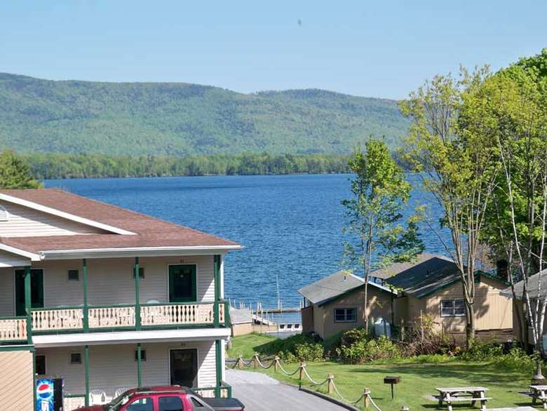 view of lake george on a sunny day