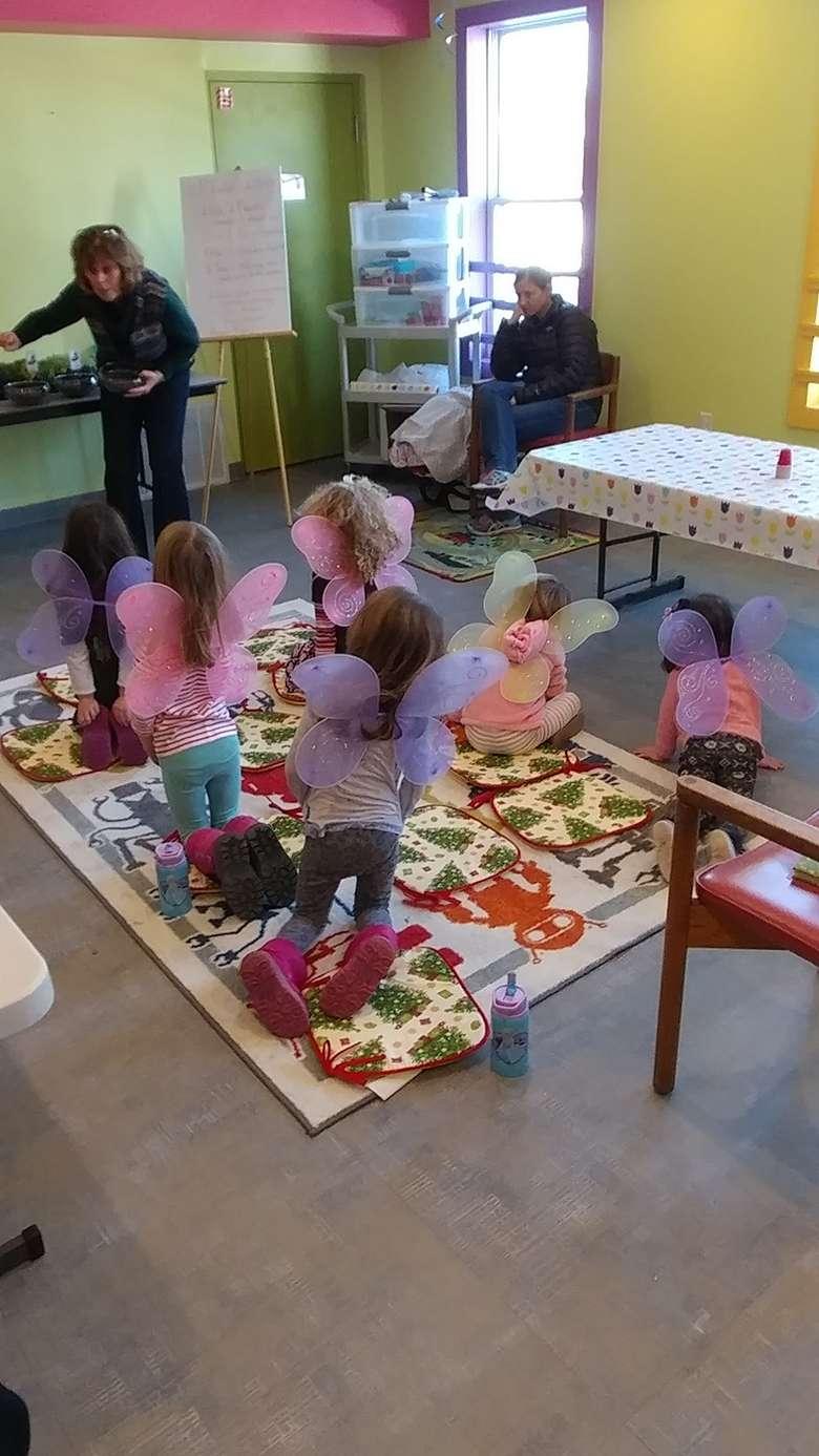 Kids participating in a Fairy Garden Workshop