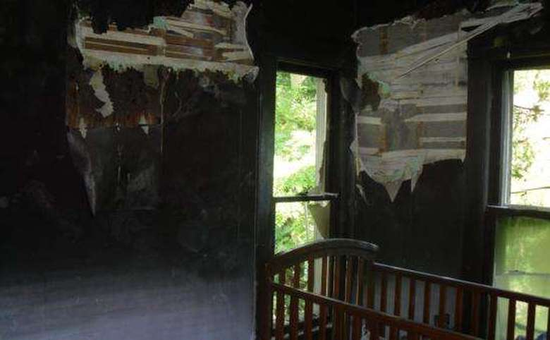 a fire damaged bedroom