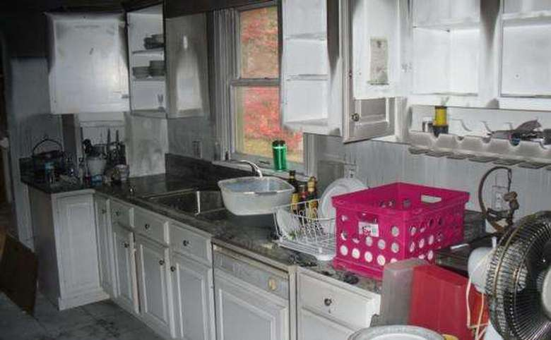 a kitchen that experienced fire damage