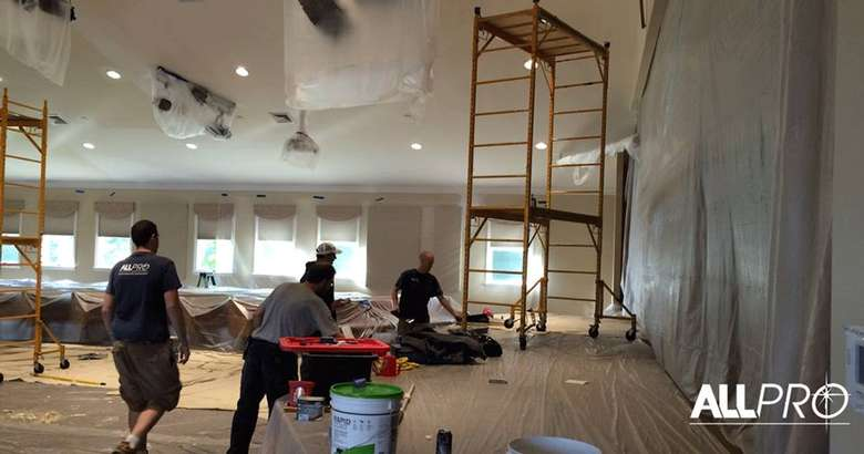 construction crew working on a restoration project