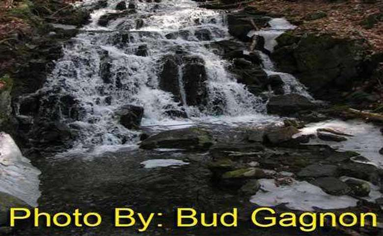 multi-tiered waterfall with photo credit to bud gagnon