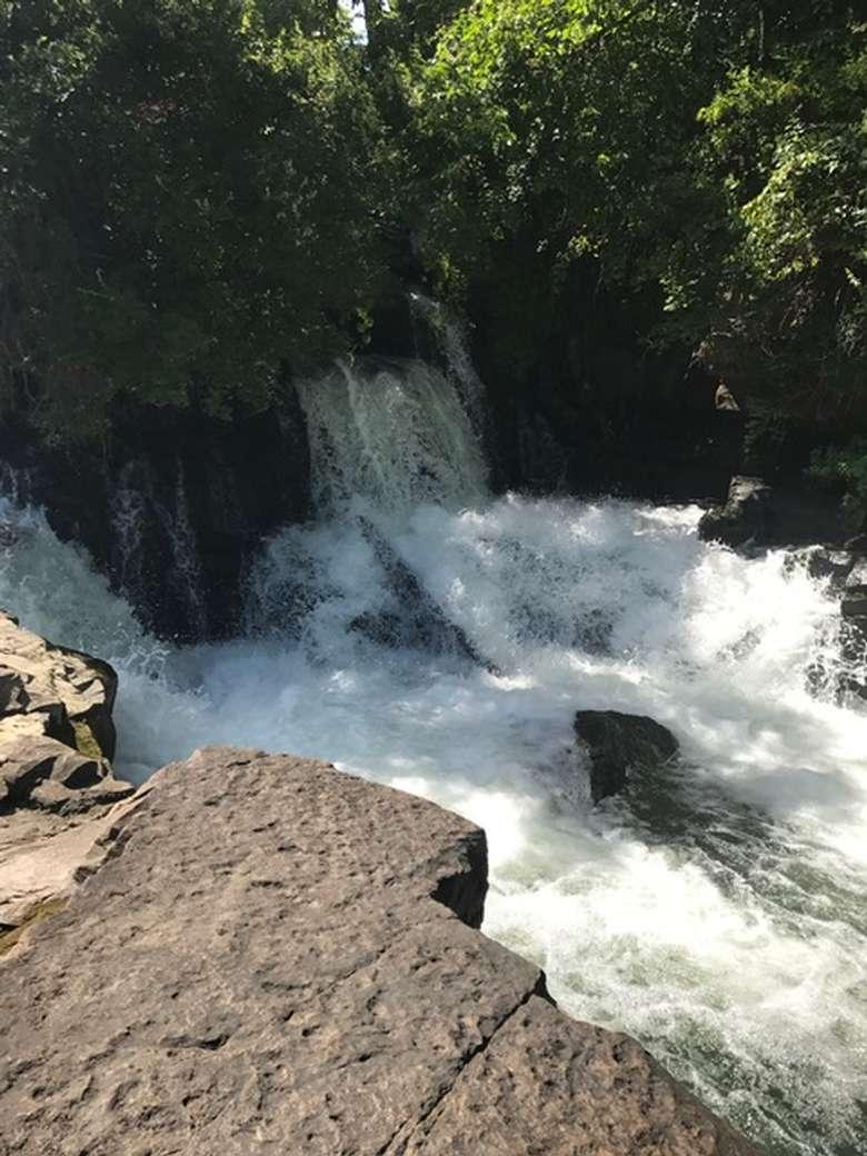 a small, rushing waterfall