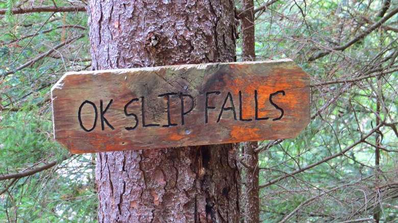 wooden sign that says ok slip falls nailed to a tree
