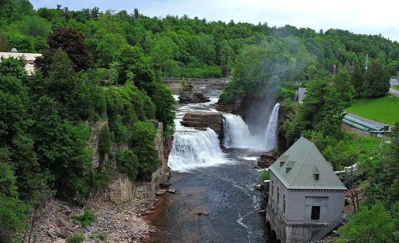 three waterfalls at ausable chasm as seen from above