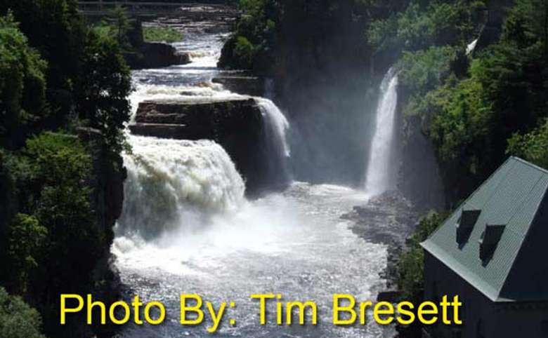 three waterfalls at ausable chasm with photo credit to tim bresett