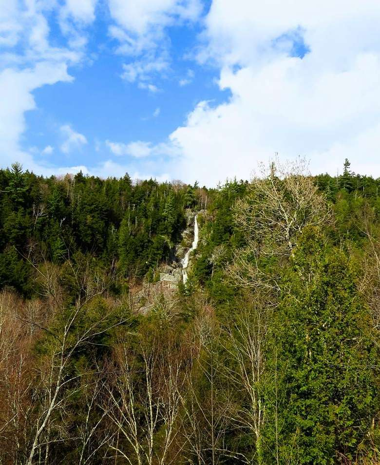 distant view of a tall skinny waterfall dropping through the woods