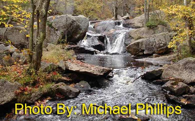 small waterfall in the woods with photo credit to michael phillips