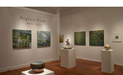 art gallery showing the organic form exhibition with sculptures and paintings on the walls