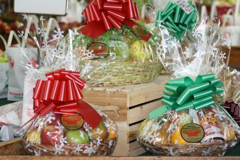 gift baskets on display