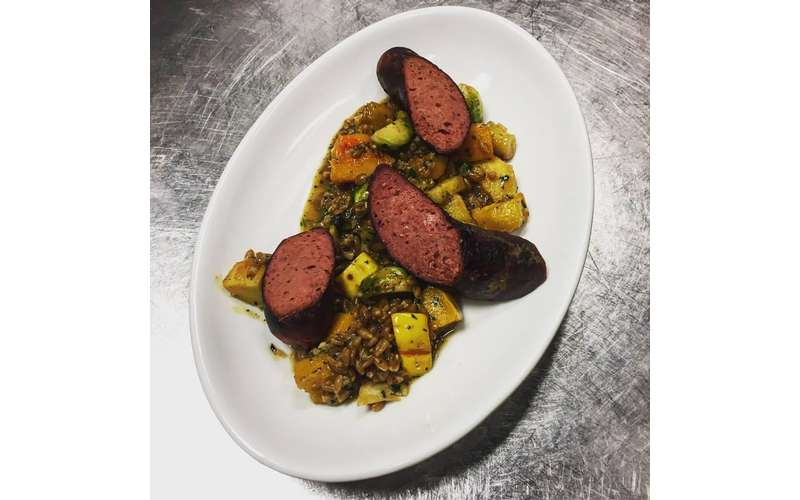 Smoked venison sausage with toasted farro and fall vegetables