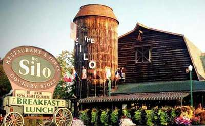 exterior of and sign for the silo