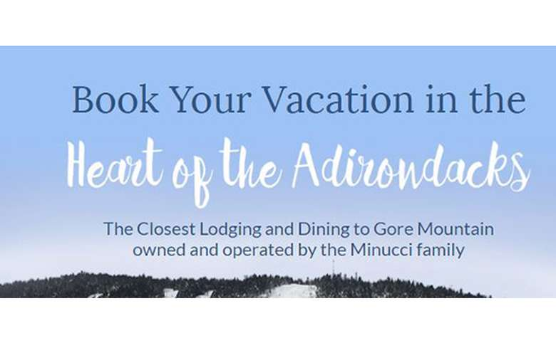 text that says book your vacation in the heart of the adirondacks
