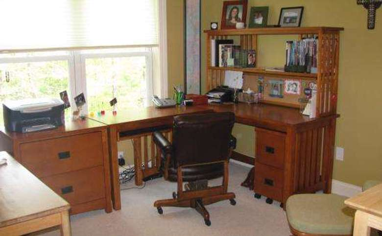 Organized room with desk and dresser combo