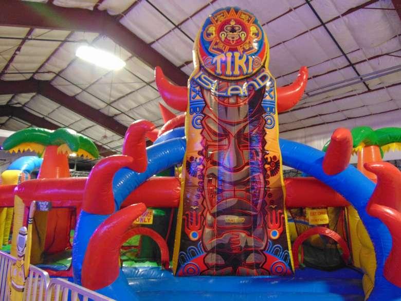 inflated tiki island bounce house