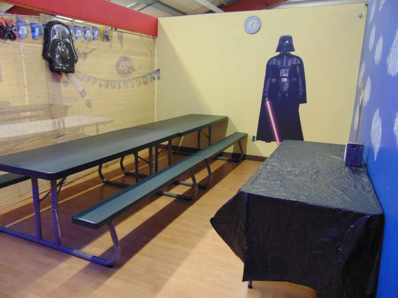birthday party room at adventure family fun center decorated with star wars theme