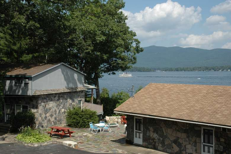 lakefront townhouse buildings overlooking lake george