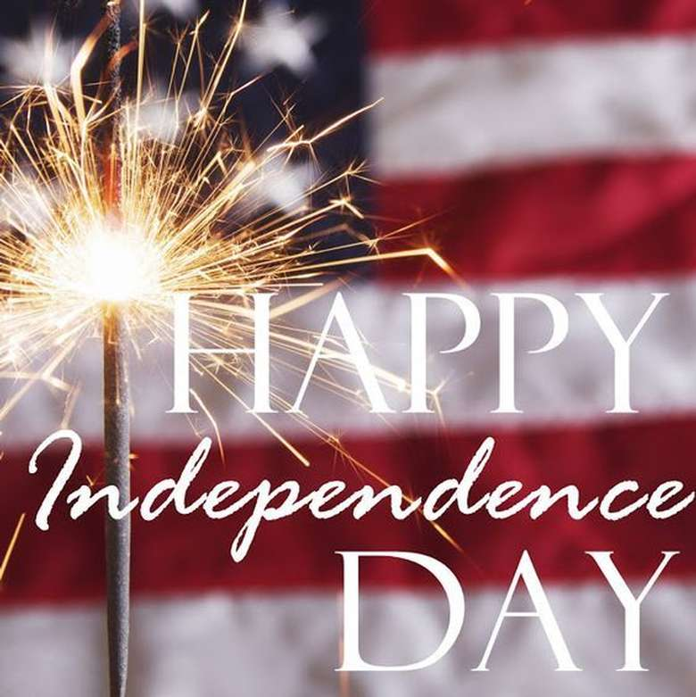 american flag graphic with a sparkler and text that says happy independence day