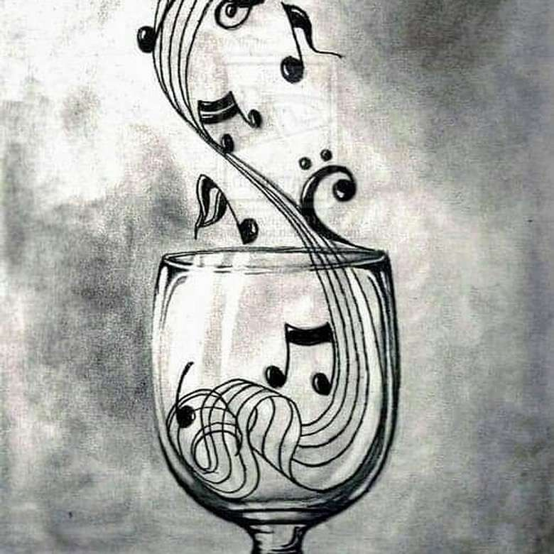 music notes that look like they're being poured into a wine glass