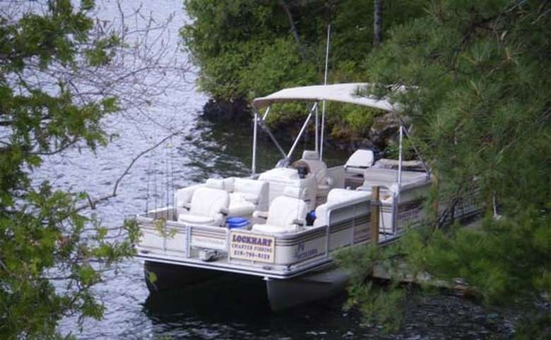 View of a docked fishing boat
