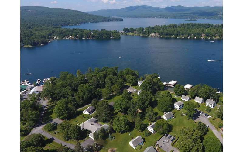 aerial of lake George from the lakeside property
