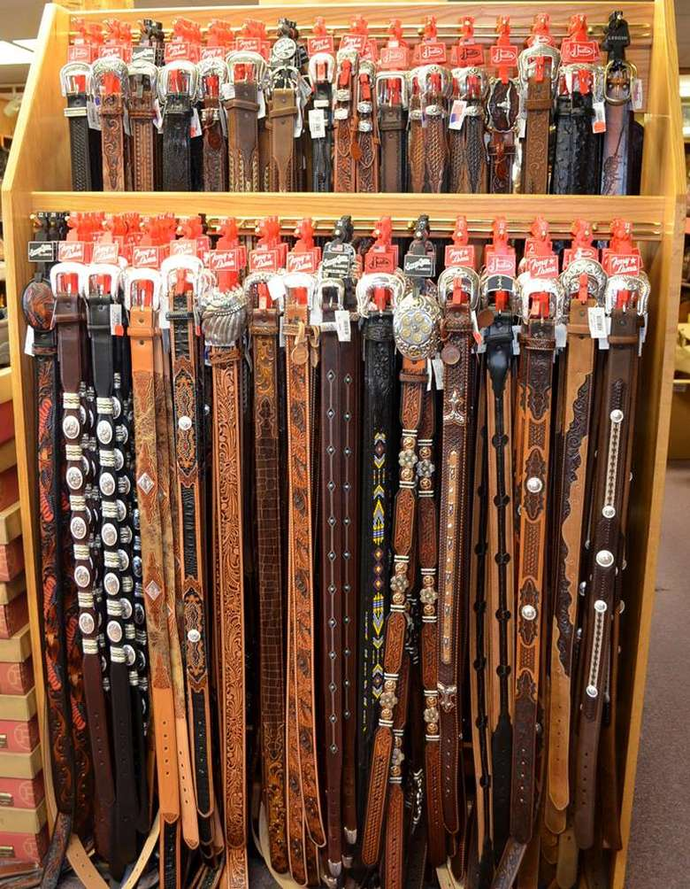 display of belts