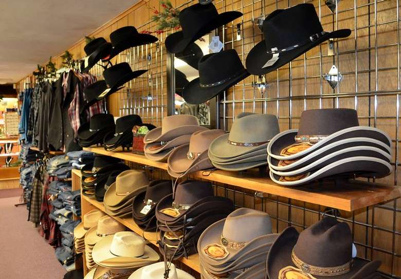 a display of cowboy hats