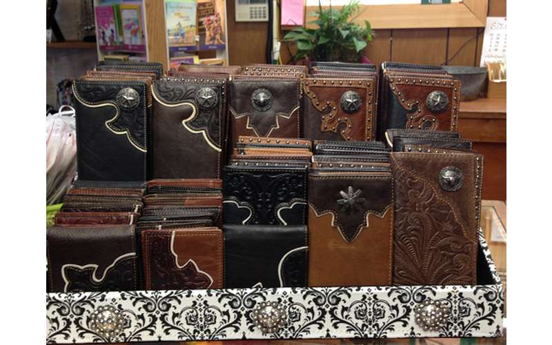 display of several leather wallets
