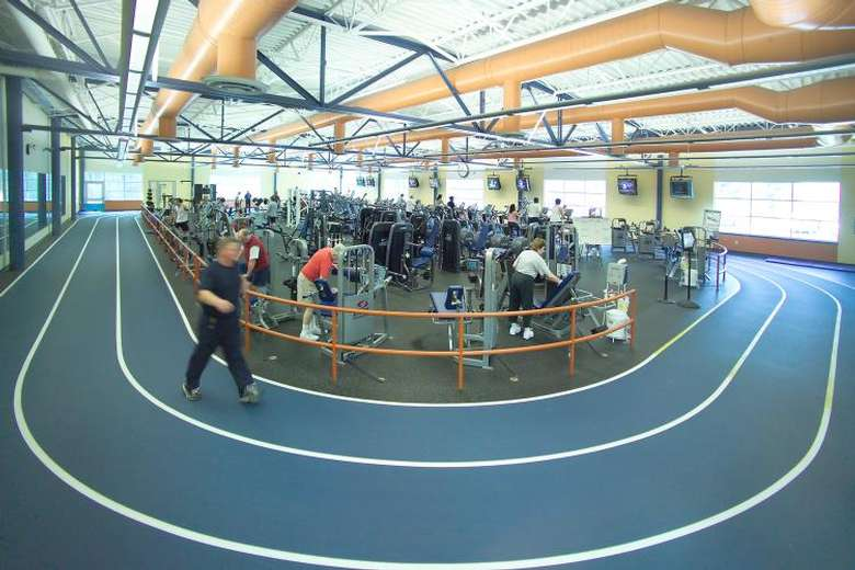 Track at the YMCA with machines in the center