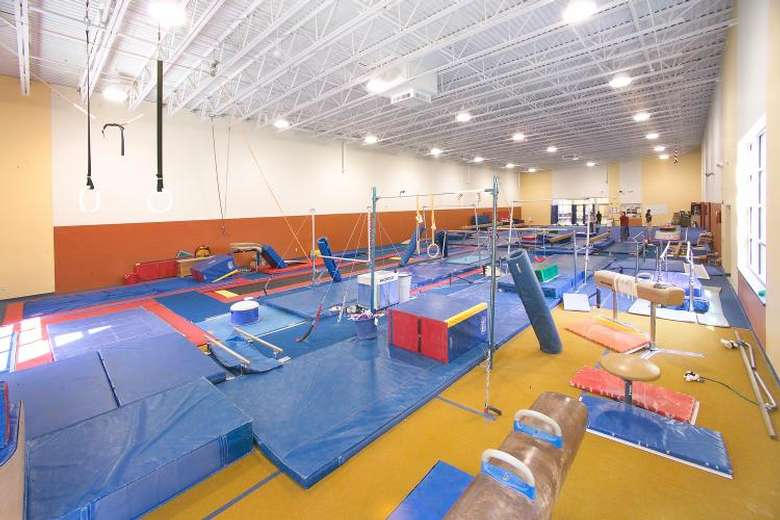 Gymnastics room with various equiptment