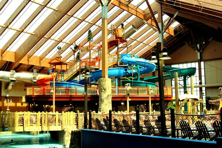 indoor waterpark with waterslides and other attractions