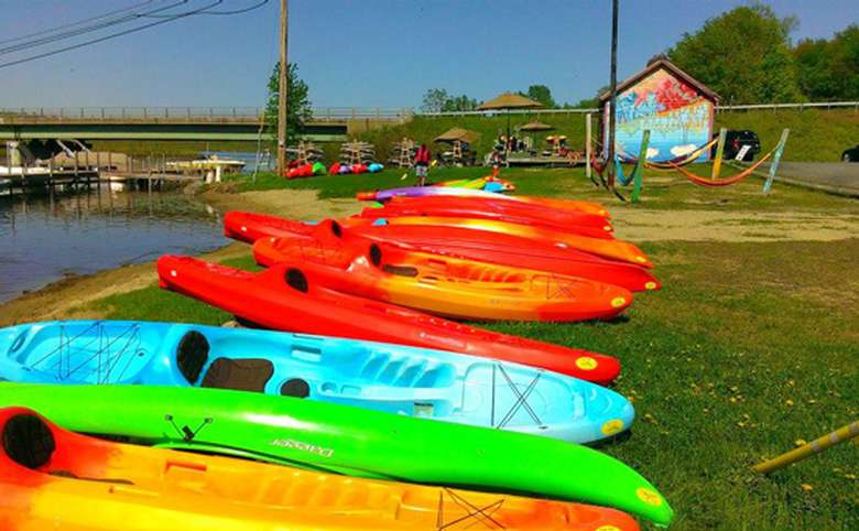 row of colorful kayaks on a sunny day