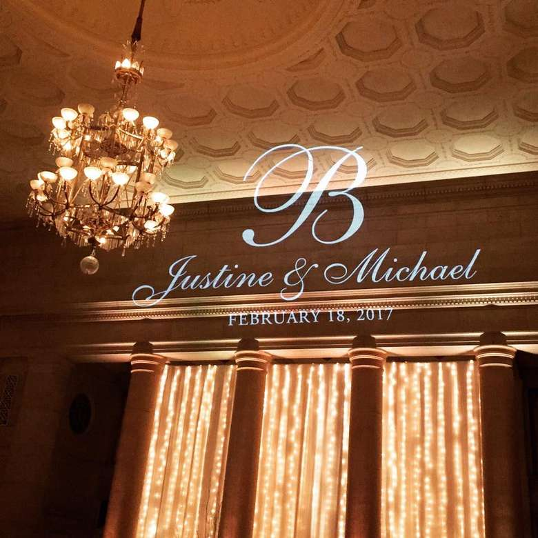 monogram lighting with the bride and groom's names