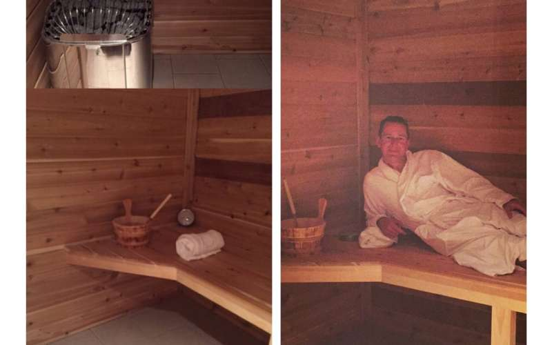 a split image of a sauna with a man in a robe on the right