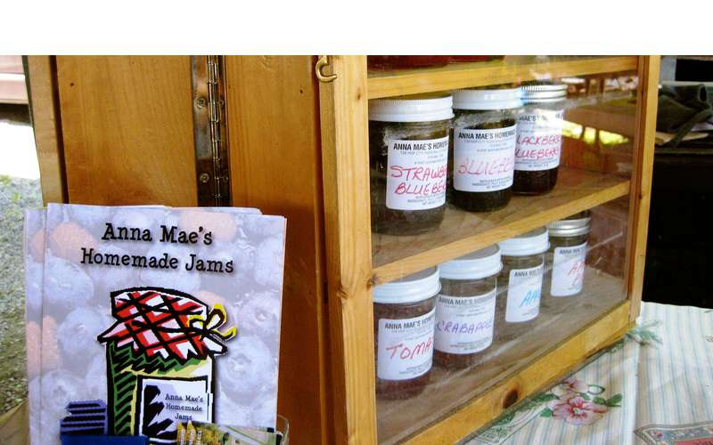 a display of Annie Mae's homemade jams