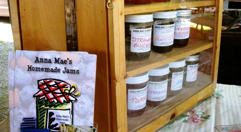 a display of Annie Mae's homemade jams