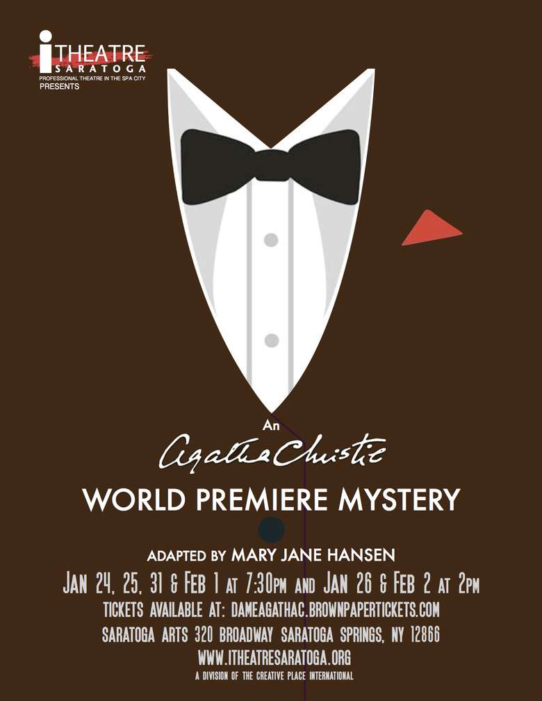 poster advertising an agatha christie world premiere mystery