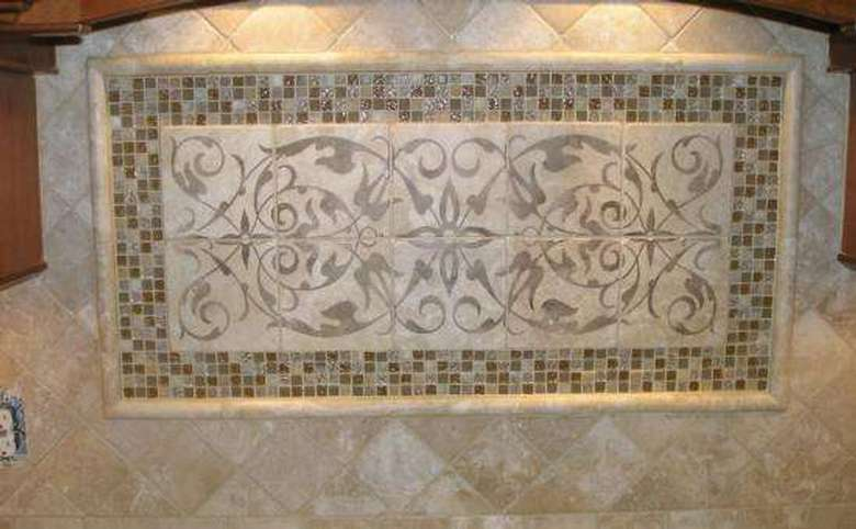 close-up of an accent section of a tiled backsplash