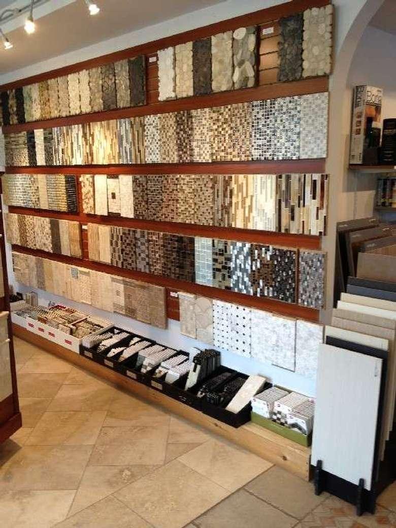 tile samples in a showroom