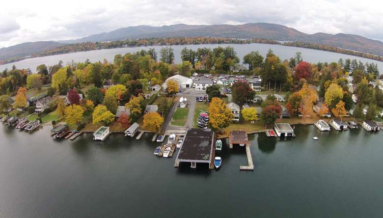 a view of boats, docks, and a shoreline from high above