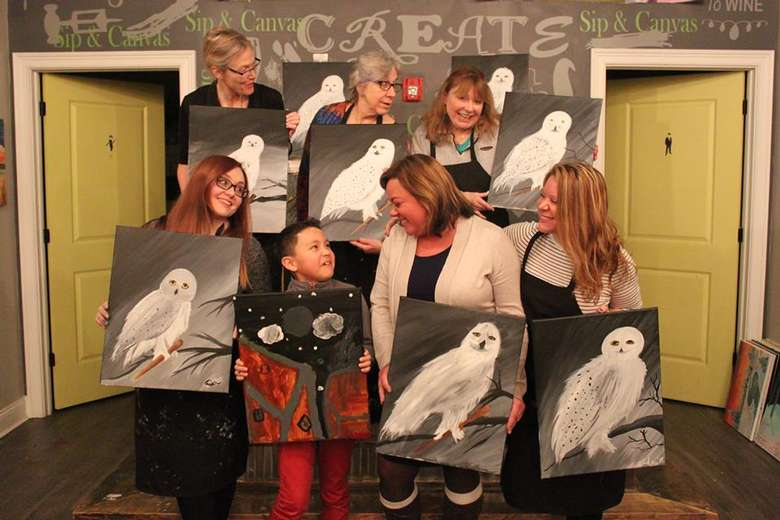 group with owl paintings