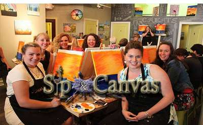logo for sip and canvas, and paint and sip people