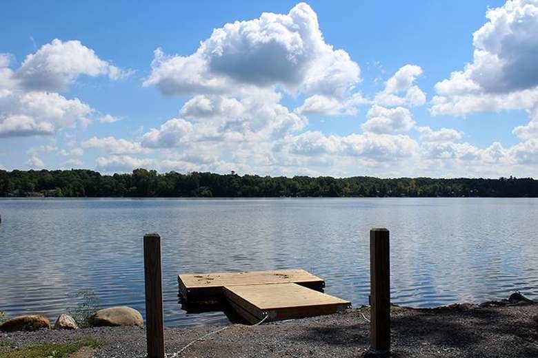 the dock at the glen lake canoe launch