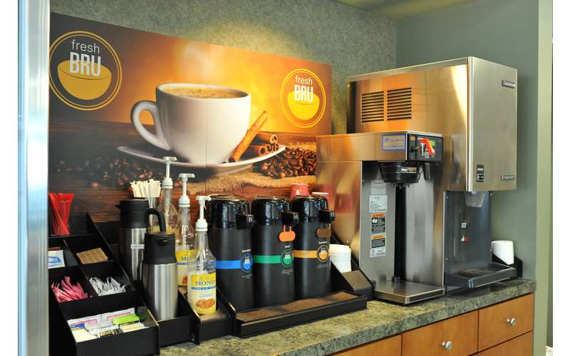 A view of the beverage options in Embury Cafe offered daily.