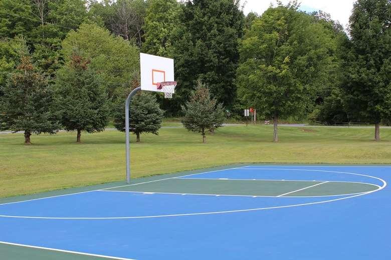 a blue basketball court at an outdoor park