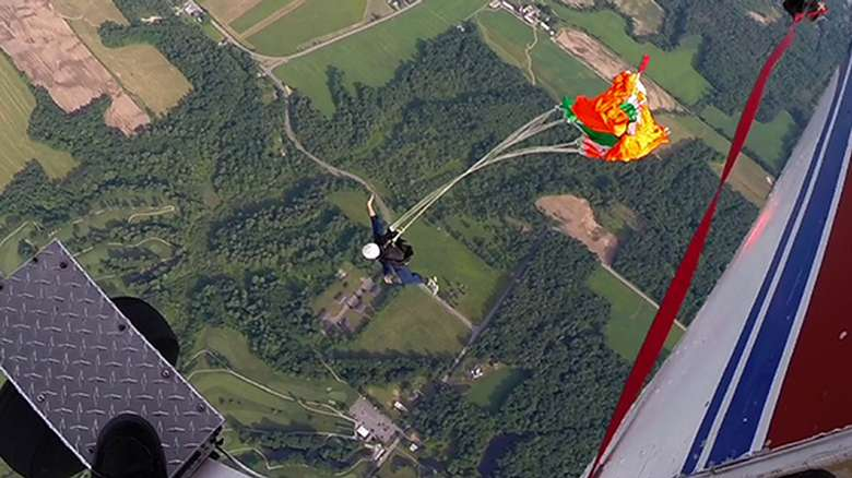 The parachute opening on a static jump
