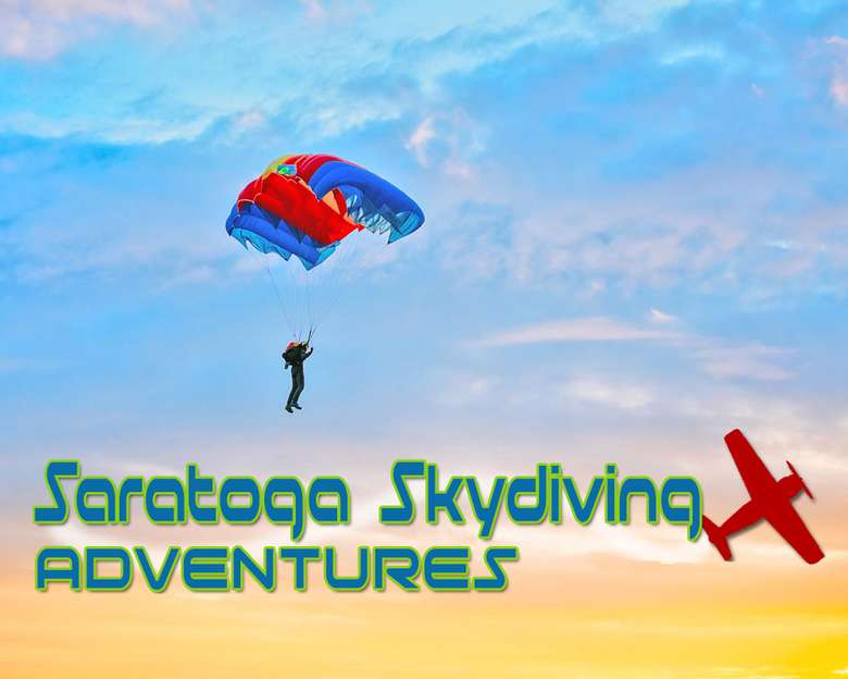 """Person in the sky with a parachute and the words """"Saratoga Skydiving Adventures"""""""