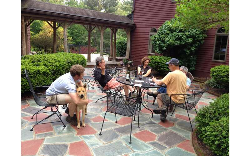 a group of people on a patio space with a dog
