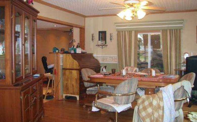 cluttered dining room